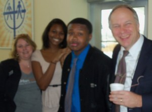 Urban Promise at PUMC on 1/5/14. L-R Jennifer Geordano, Natalie Evans, Pierre Joseph, Dr. Bruce Main