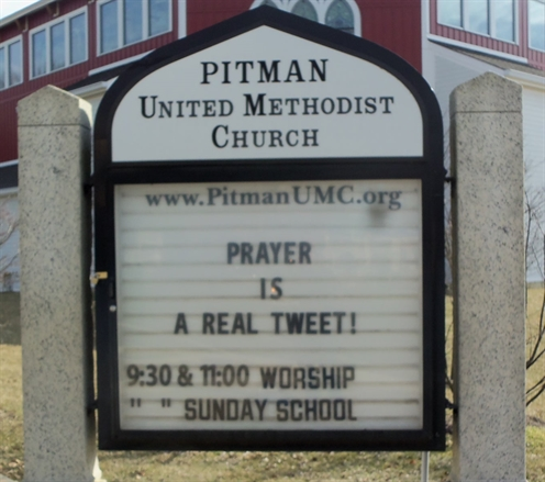 "Isn't it wonderful that God follows our ""Prayer-Tweets""?   Signboard message on 3/1/14."