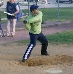 Pastor Kee taking some swings.