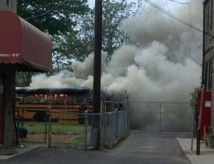 Neighborhood Center's bus on fire (from www.ncicamden.org)