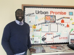 Marcus Bell (Urban Promise) checks out our missions bulletin board